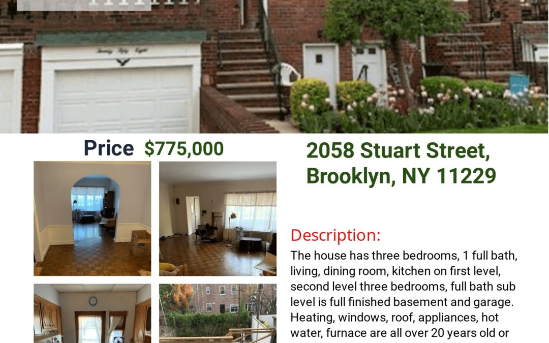 OPEN HOUSE! This Sunday, June 6th, 2021, From 12-3Pm 2058 Stuart Street, Brooklyn, NY 11229 S.I. Premiere Properties Gregory Diaz NYS LIC. Real Estate Broker Owner Phone: 718-667-6400 Mobile: 347-297-1075 Fax: 718-667-6401 Email: gregdsells@aol.com