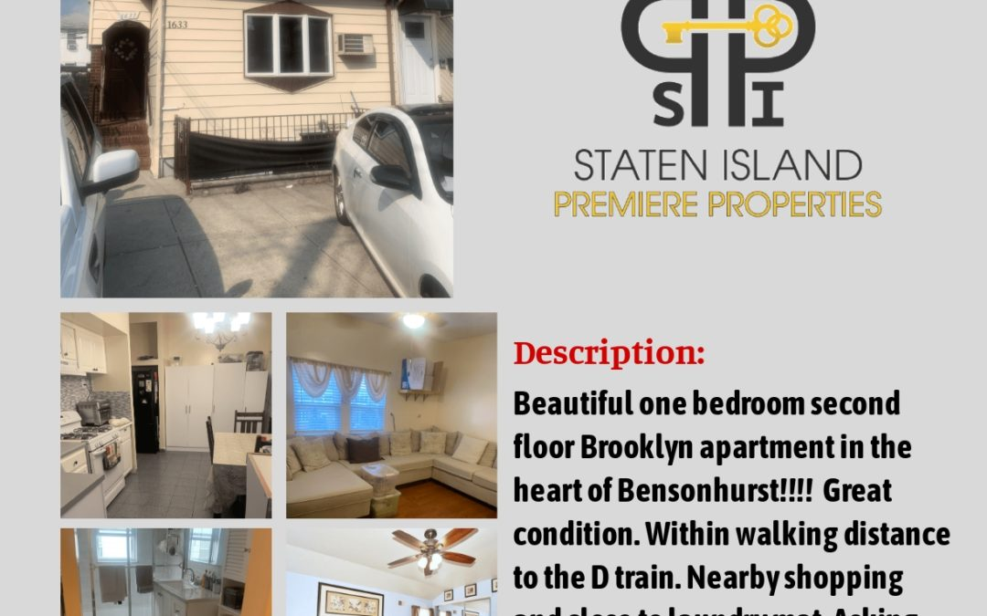 For Rent!!! 1633 77th Street, Brooklyn, NY 11214 S.I. Premiere Properties Gregory Diaz NYS LIC. Real Estate Broker Owner Phone: 718-667-6400 Mobile: 347-297-1075 Fax: 718-667-6401 Email: gregdsells@aol.com