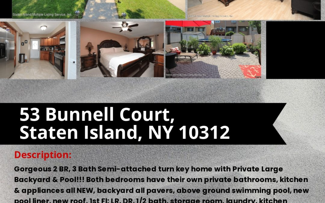 In Contract!!! 53 Bunnell Court, Staten Island, NY 10312 Robert Gershon NYS Lic. Real Estate Sales Person Office: 718-667-6400 Cell: 917-751-1551 Fax: 718-667-6401 Email: gershknowshomes@gmail.com